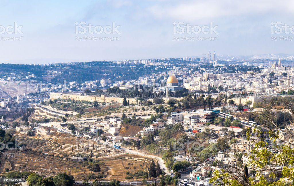 View of the walls of the old city of Jerusalem, the Temple Mount and Al-Aqsa Mosque from Mt. Scopus in Jerusalem, Israel stock photo