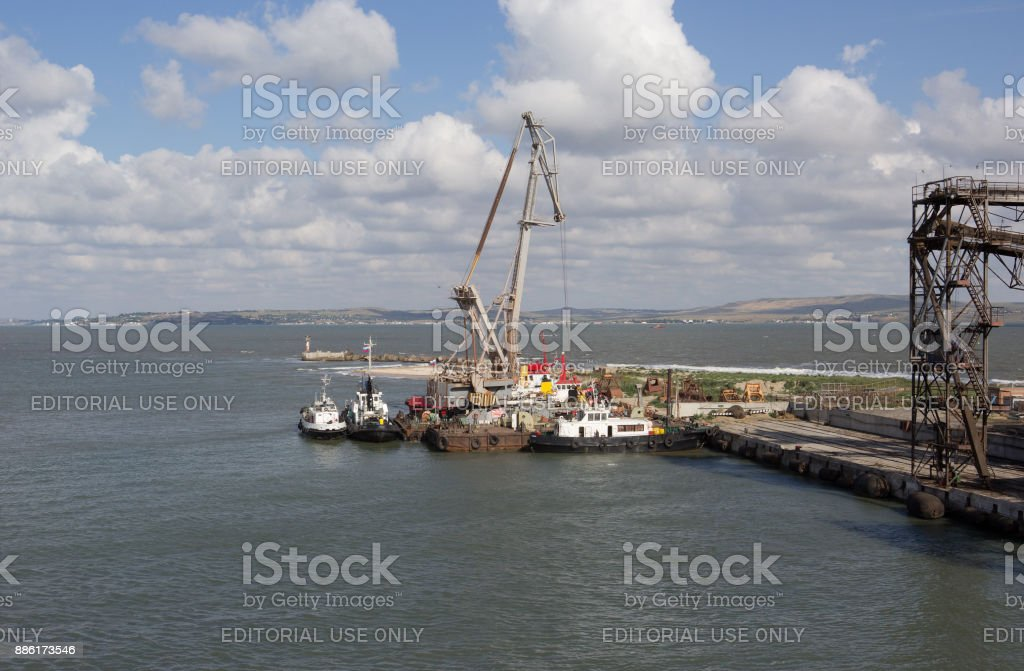 A view of the water area of port Kavkaz, Russia stock photo