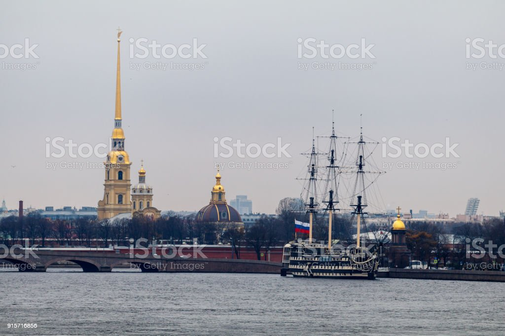 view of the water area of the Neva River, St. Petersburg stock photo