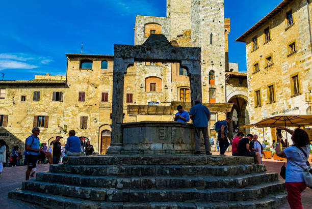 View of the water well in Piazza della Cisterna in San Gimignano (Siena, Italy). stock photo