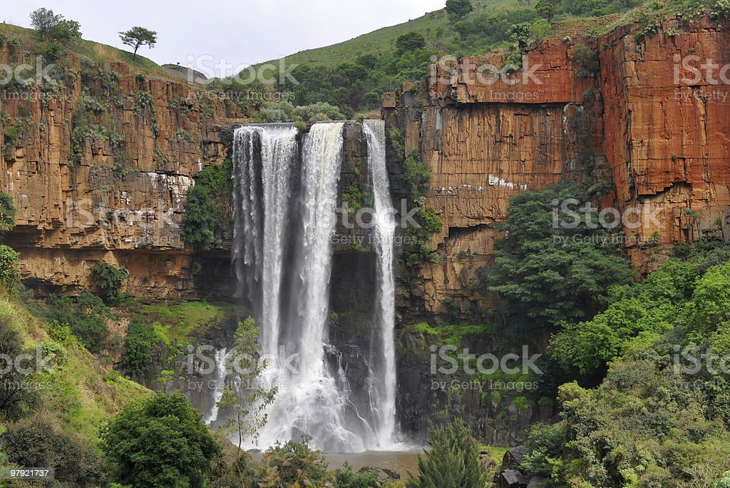 View of the Waterval Boven waterfall next to brown mountains royalty-free stock photo