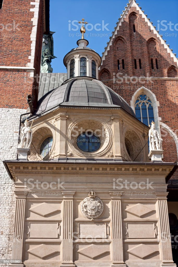 View of the Wawel Cathedral inside Wawel Castle in the city of Krakow on a sunny summer day stock photo