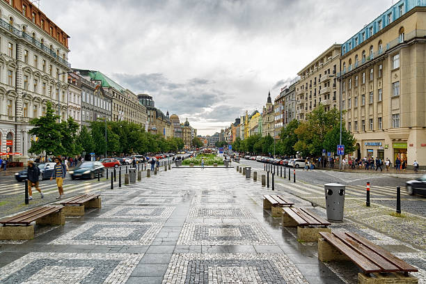 View of The Wenceslas Square in Prague Prague, Czech Republic - August 11, 2014: View of The Wenceslas Square in Prague. The Old Town is famous destination in Prague. wenceslas square stock pictures, royalty-free photos & images