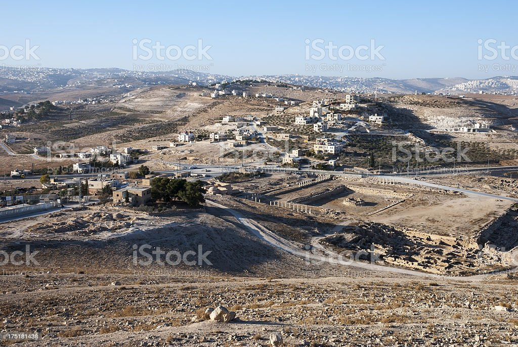 view of the West Bank landscape from the Herodian stock photo