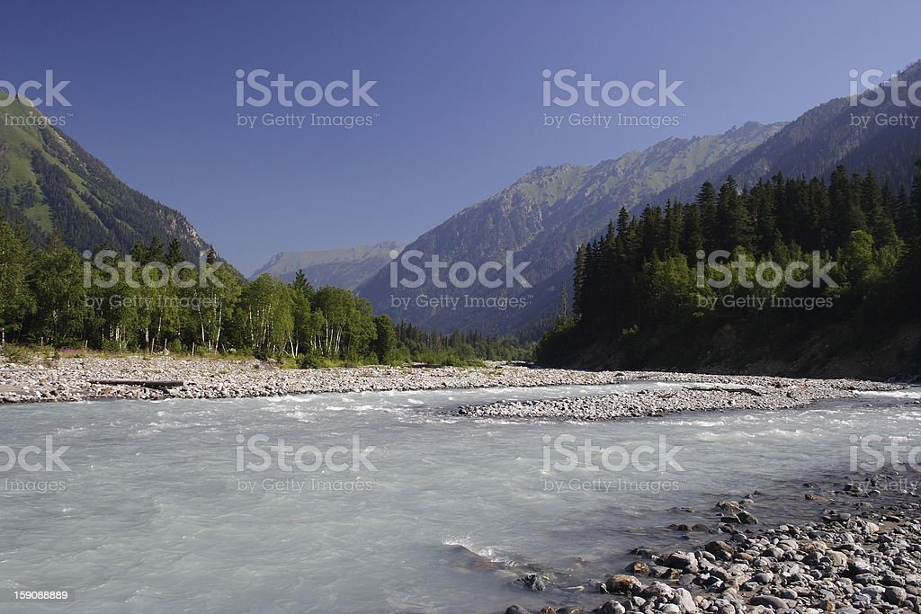 View of the Western Caucasus, river Kizgych royalty-free stock photo