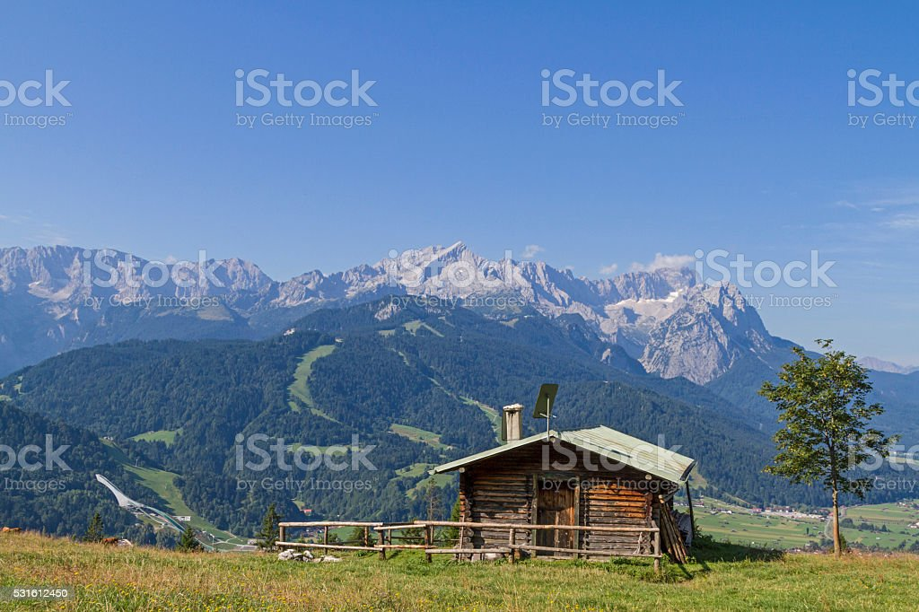 view of the Wetterstein Mountains stock photo
