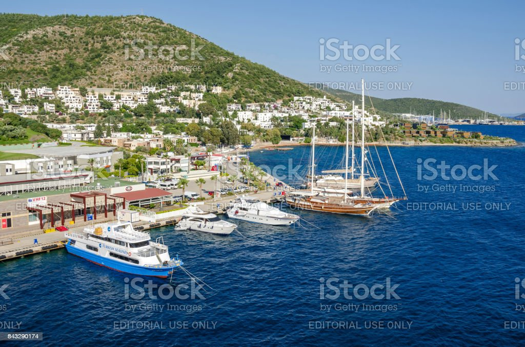 View of the white city of  Bodrum from the sea stock photo