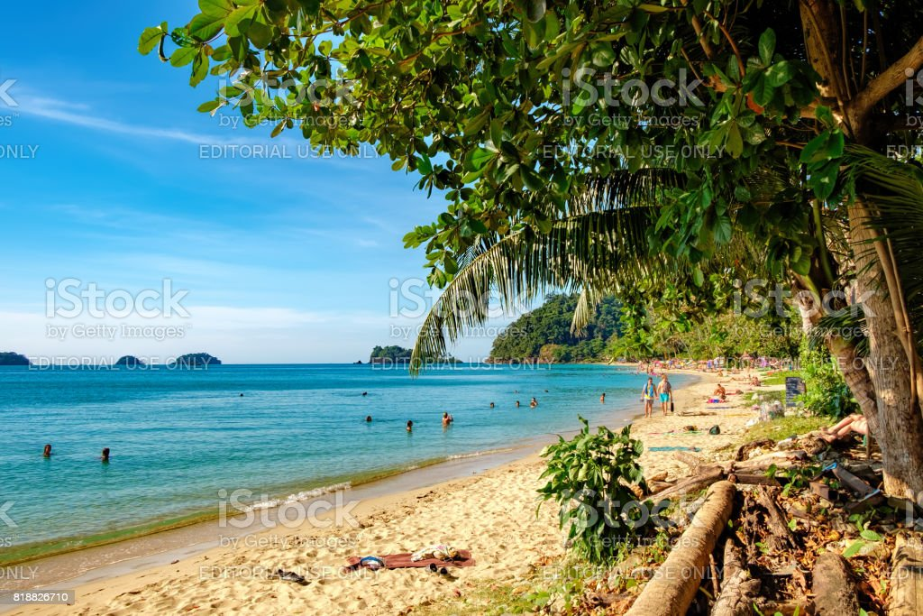 View of the White Sand Beach, Koh Chang , Thailand stock photo