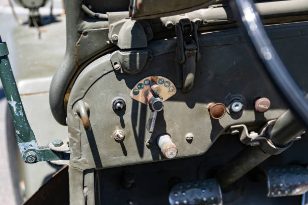 View of the Willys MB steering wheel and dashboard. Wattrelos,FRANCE-June 02,2019:view of the Willys MB steering wheel and dashboard.Car exhibited at the 7th Retro Car Festival at the Renault Wattrelos ZI Martinoire parking lot. willys stock pictures, royalty-free photos & images