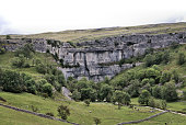 A view of the Yorkshire Dales near Mallam Cove on a cloudy day