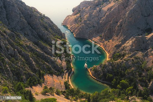 View of the Zavratnica canyon near the village of Jablanac. It is part of the Velebit National Park