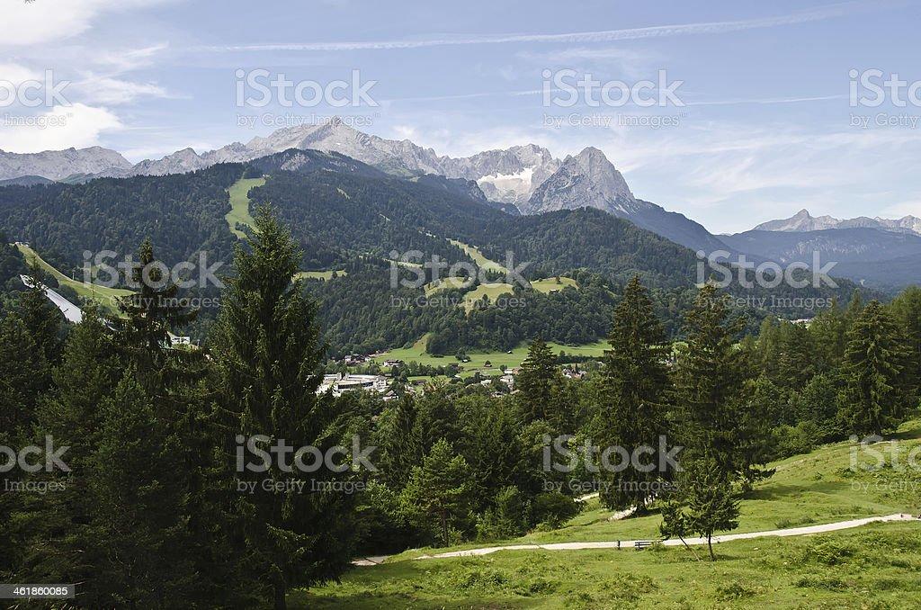Blick zur Zugspitze und Alpspitze stock photo
