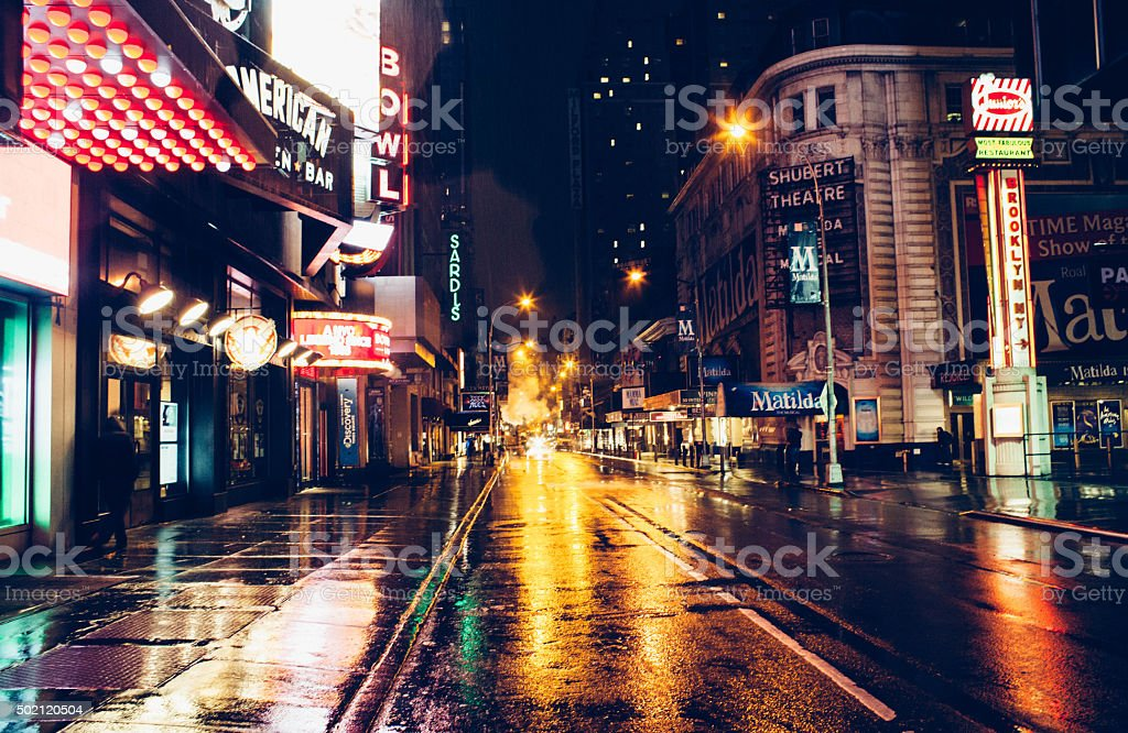 View of Times Square side street at night. stock photo