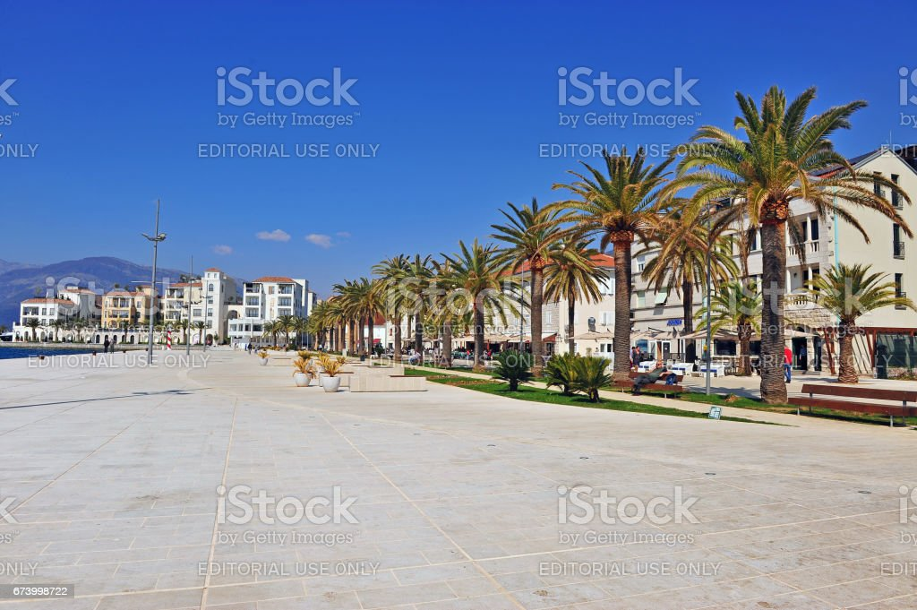 View of Tivat embankment royalty-free stock photo