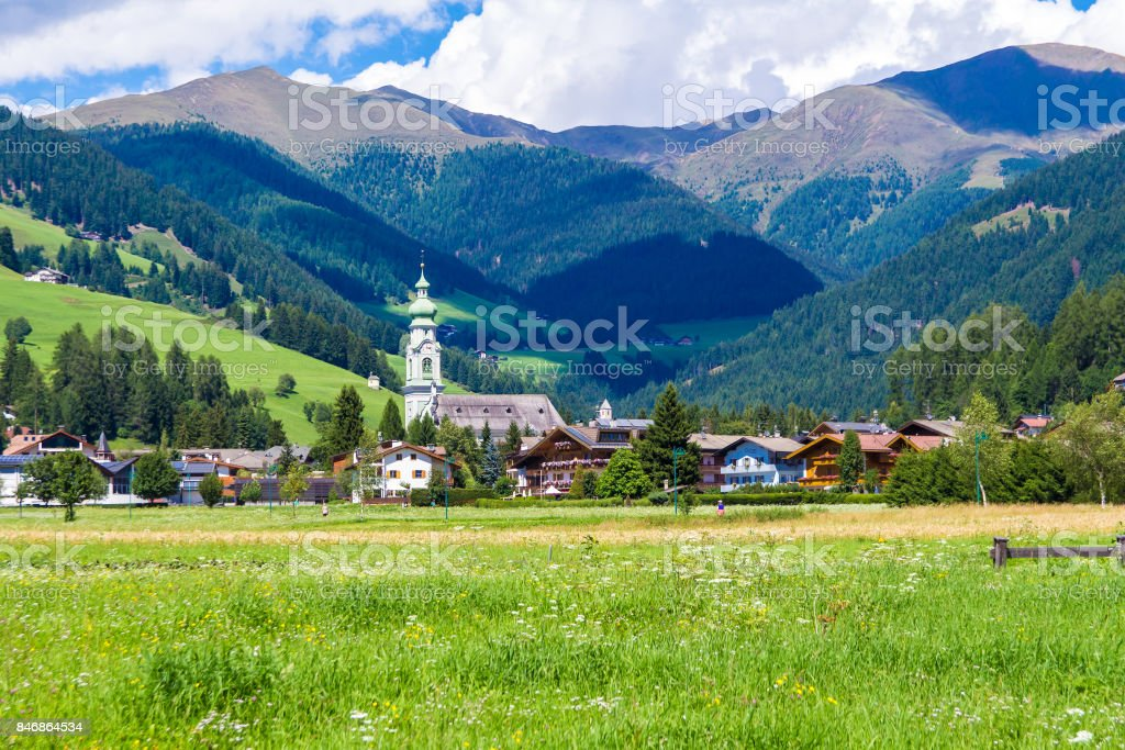 View of Toblach, little town located in the Puster Valley, Italy stock photo
