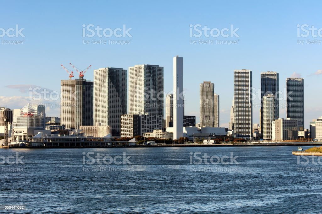 view of Tokyo downtown from Rainbow Bridge in Tokyo stock photo