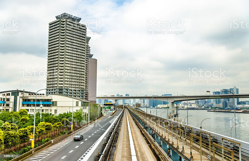 View of Tokyo from Yurikamome line stock photo