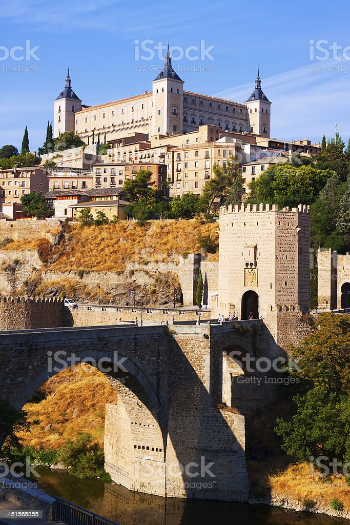 View of Toledo with Puente de Alcantara stock photo