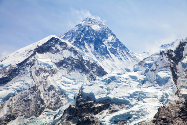 view of top of mount everest from kala patthar - snowy mountains stock photos and pictures