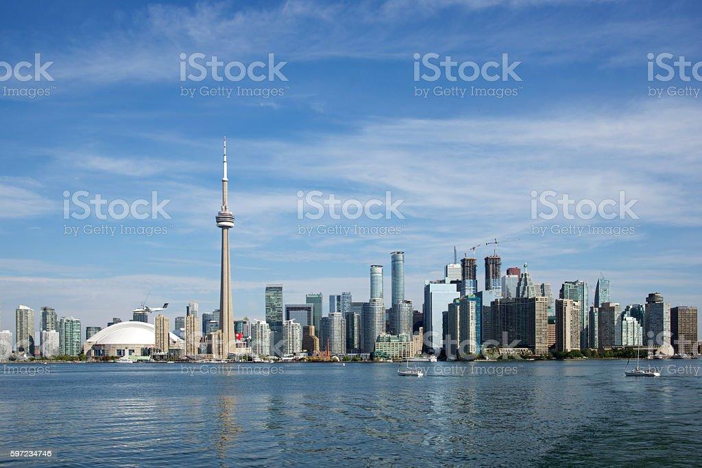 View of Toronto Skyline from Lake Ontario stock photo