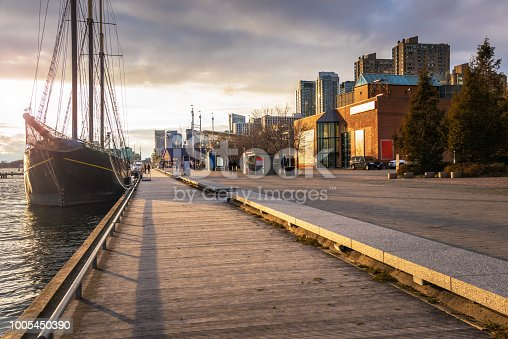 Boardwalk on Toronto Waterfront Lit by an Autumn Setting Sun. ON, Canada.