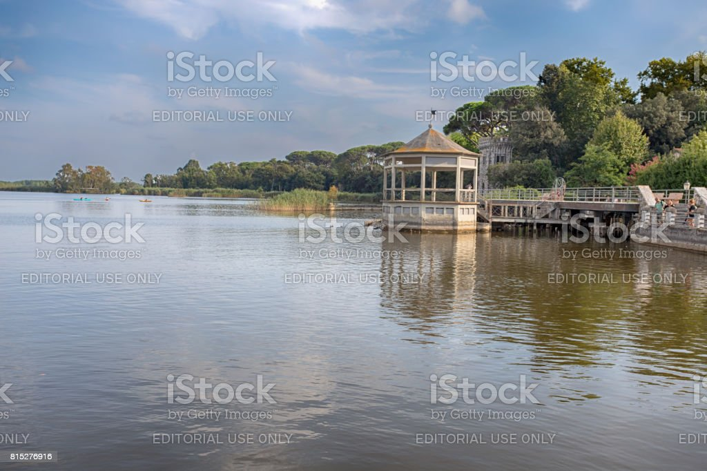 View of Torre del Lago Puccini, Pisa, Tuscany, Italy stock photo