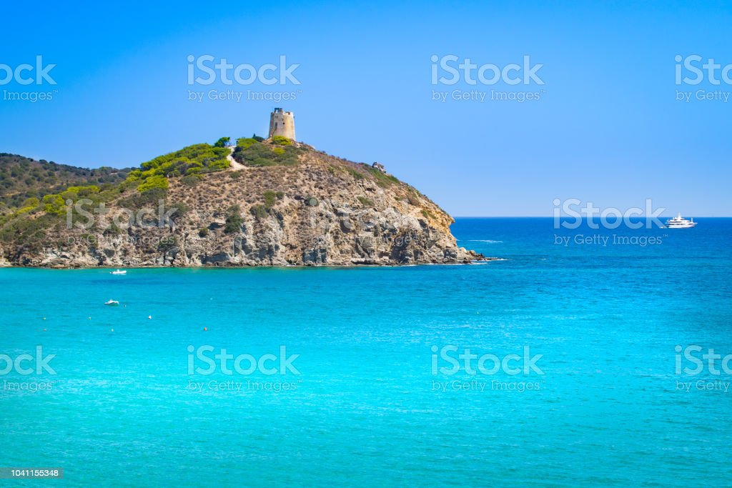 View of torre di Chia, Sardinia. stock photo