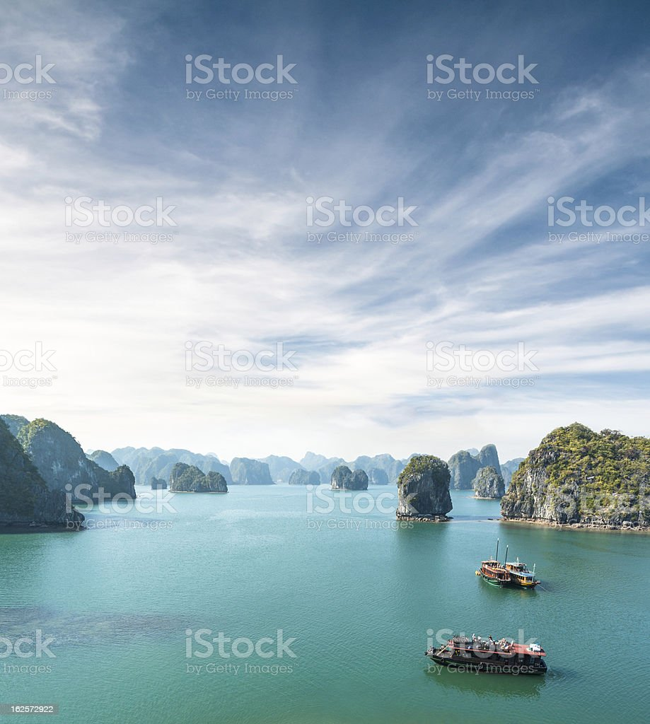 View Of Tourist Boats In Halong Bay, Vietnam stock photo
