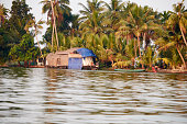 View Of Tourist Houseboat On The Water In Kerala, India