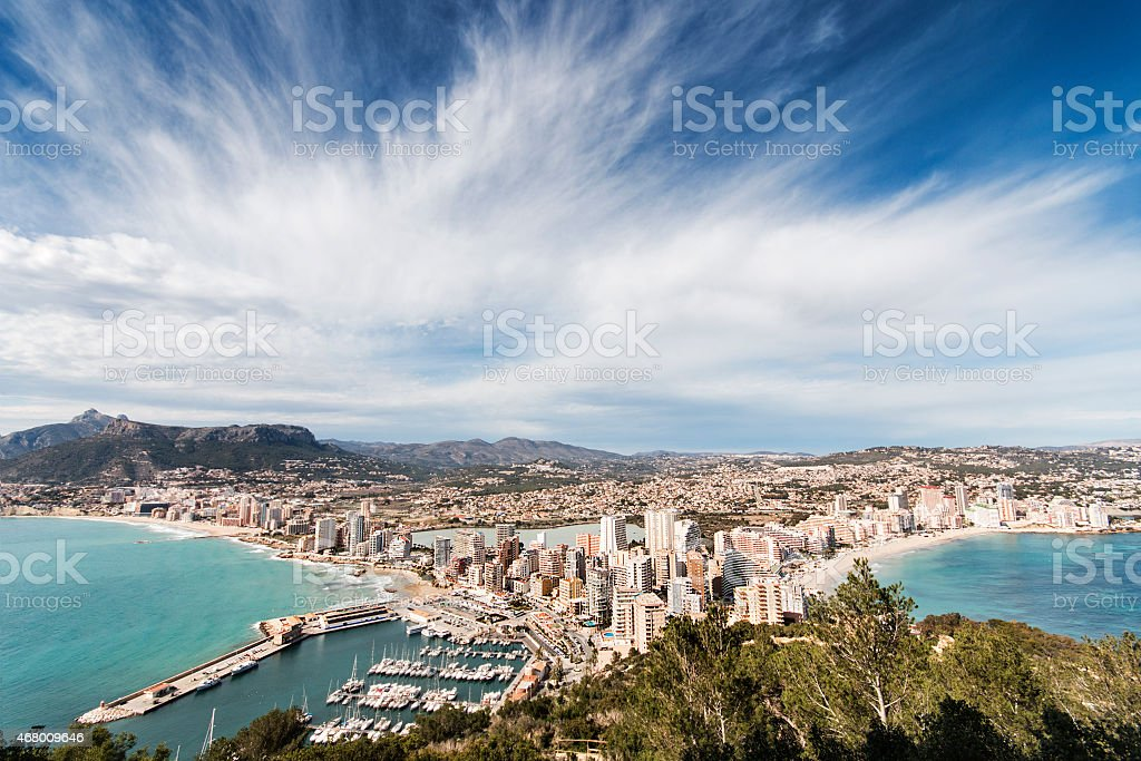 View of touristic town, Calpe, Spain stock photo