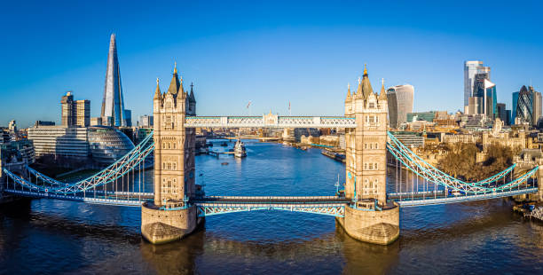 View of Tower Bridge in the synny morning, London stock photo