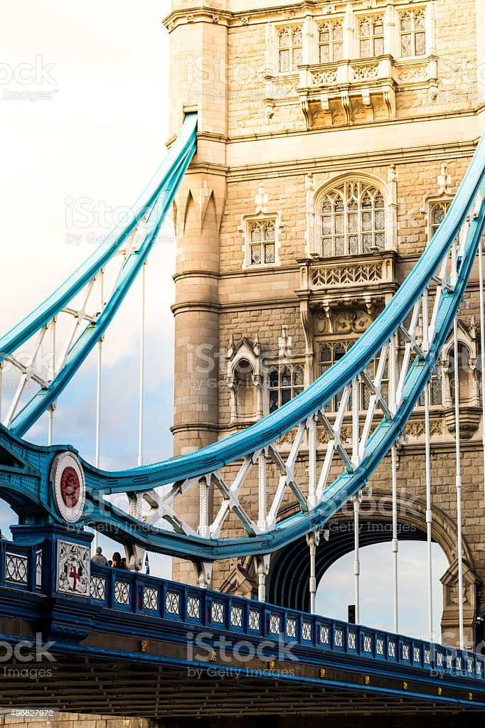 View of Tower Bridge, London, bathed in Golden Sunlight stock photo