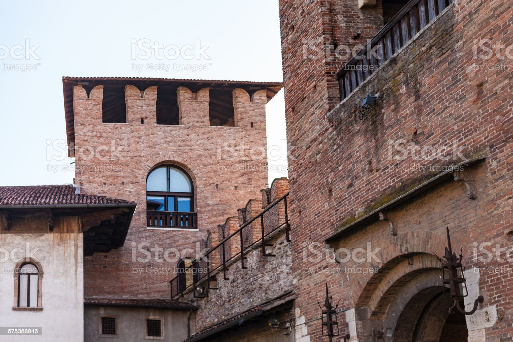view of towers of Castelvecchio (Scaliger) Castel stock photo
