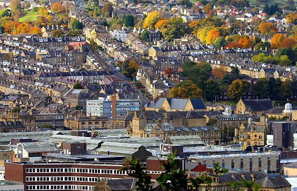 View of town, Aire Valley in Keighley, West Yorkshire stock photo