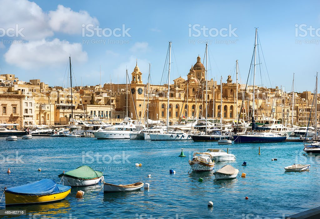View of town and harbour. Valletta. Malta Panoramic view of town and harbour. Valletta. Malta 2015 Stock Photo