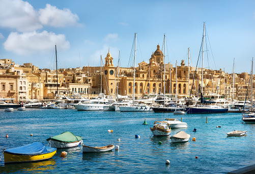 View Of Town And Harbour Valletta Malta Stock Photo - Download Image Now