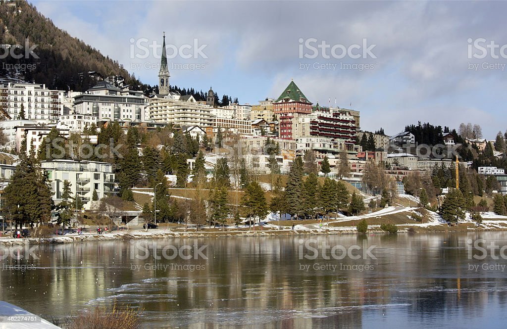 View of town and lake St. Moritz, Switzerland royalty-free stock photo