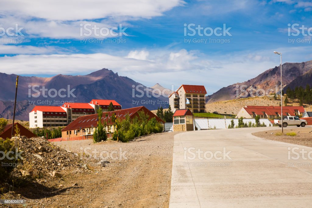 View of town of Las Lenas, Patagonia, Argentina stock photo