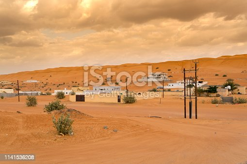 View of town on desert in cloudy day, Oman