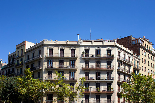 View of traditional, historical, typical residential buildings