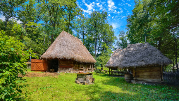 View of traditional romanian peasant house stock photo