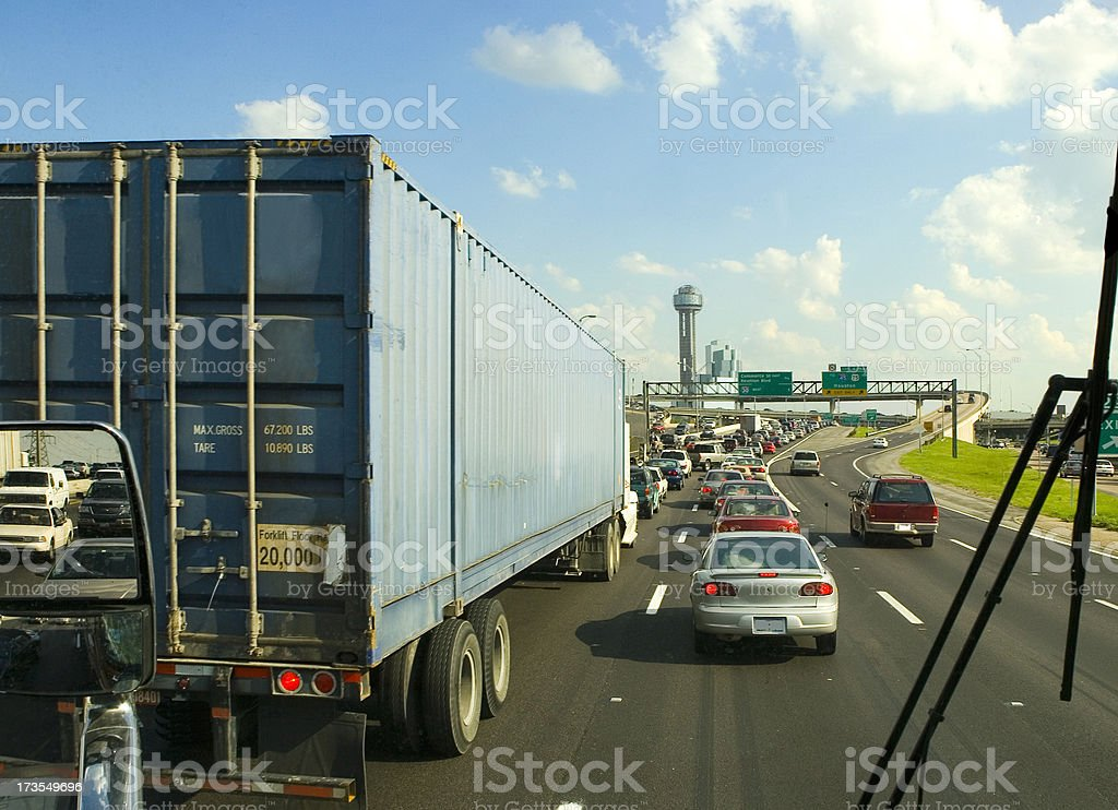 View of Traffic from a Big Rig stock photo