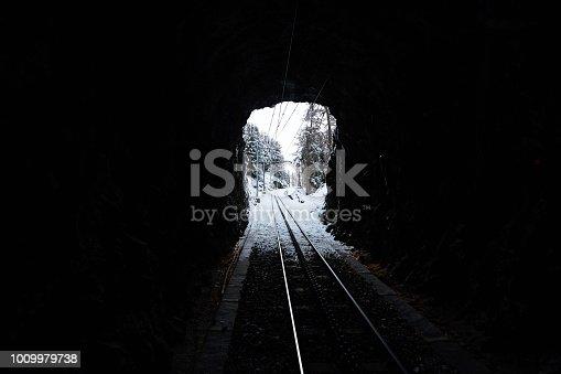 View of train tunnel entrance, Zermatt, Switzerland.