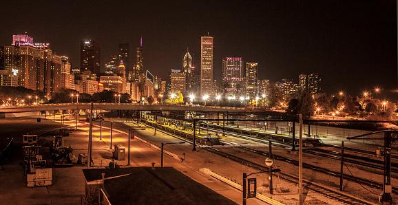 View of transit platform at night in Chicago
