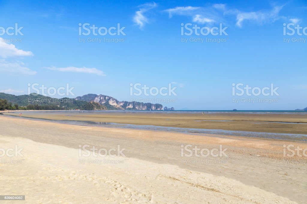 view of tropical beach during low tide at Ao Nang beach Thailand. stock photo