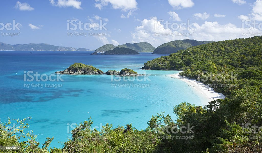 View of Trunk Bay in US Virgin Islands stock photo