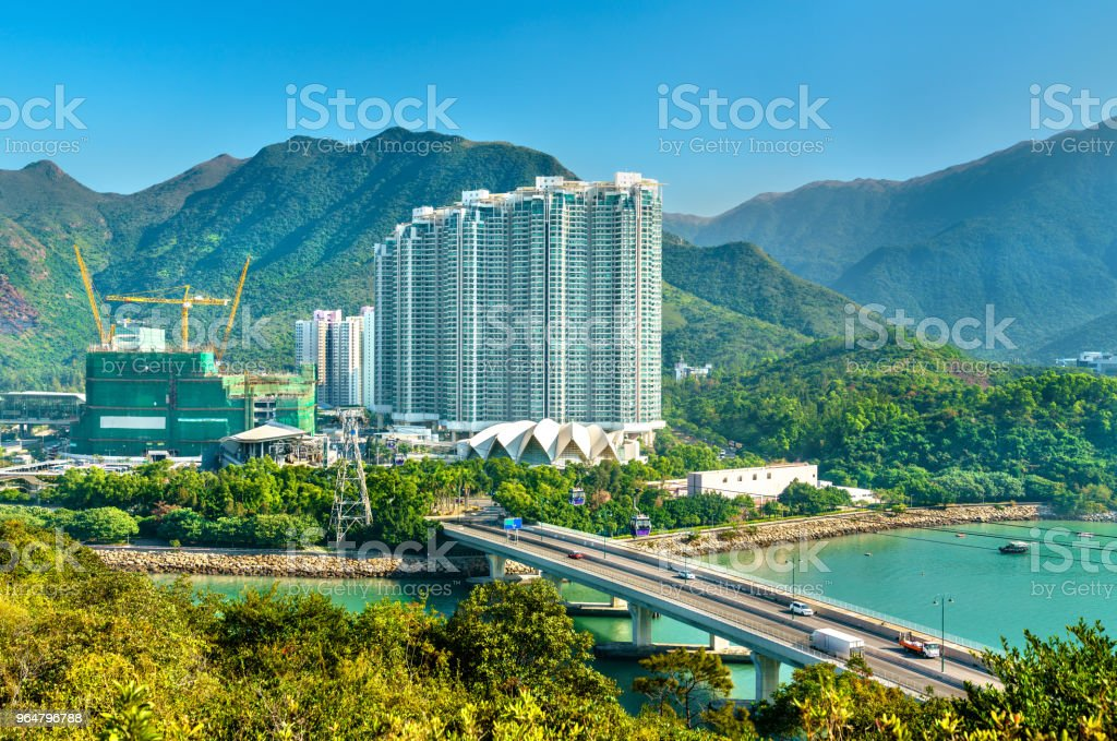 View of Tung Chung district of Hong Kong on Lantau Island royalty-free stock photo