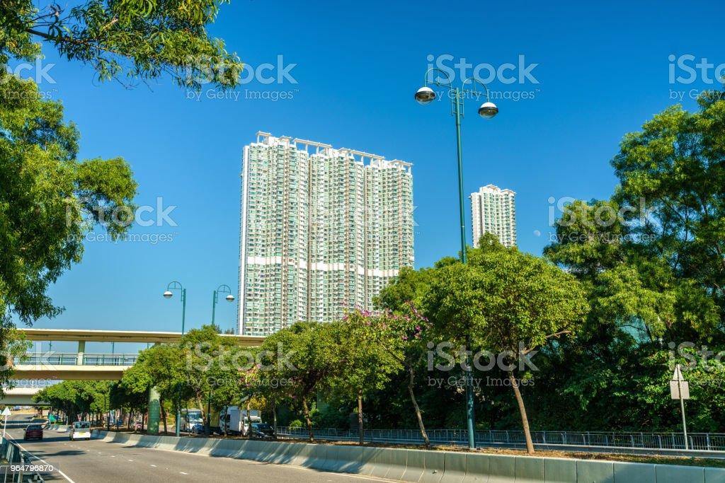 View of Tung Chung district of Hong Kong on Lantau Island royalty-free stock photo