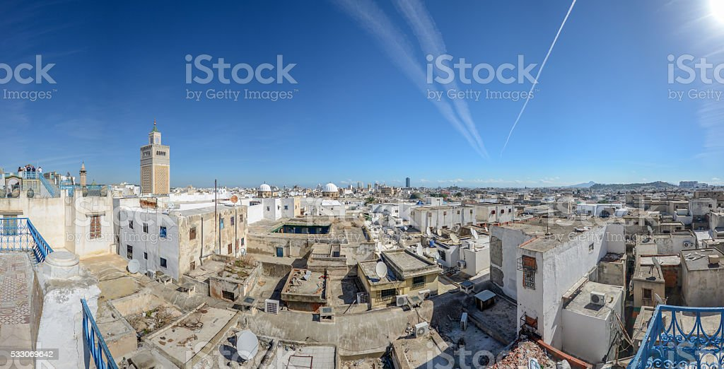 view of Tunis Medina with the high minaret stock photo