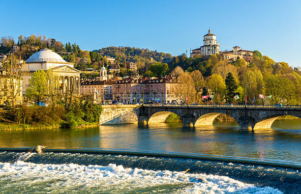 View of Turin over the Po River - Italy stock photo